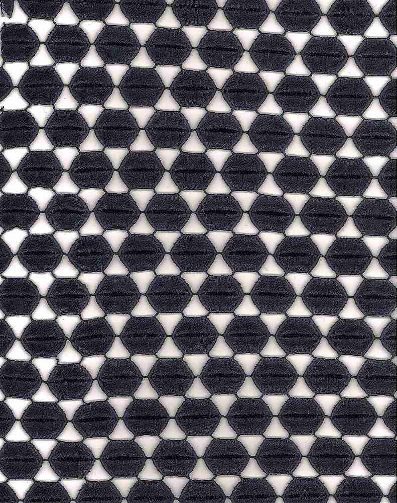 SSOR61924 / BLACK / 100% DULL POLYESTER HEXAGON EMB