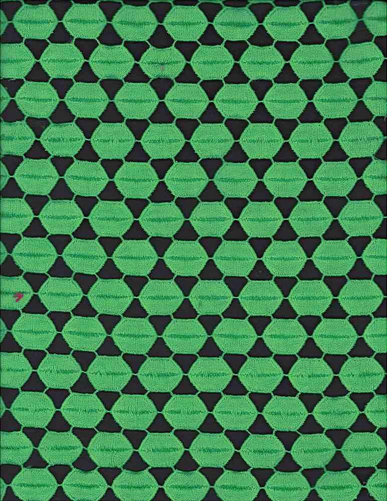 SSOR61924 / GREEN / 100% DULL POLYESTER HEXAGON EMB