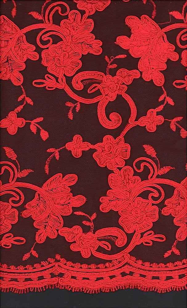WTYX1511 / RED / 100% POLYESTER MESH WITH HEAVY CORD EMB