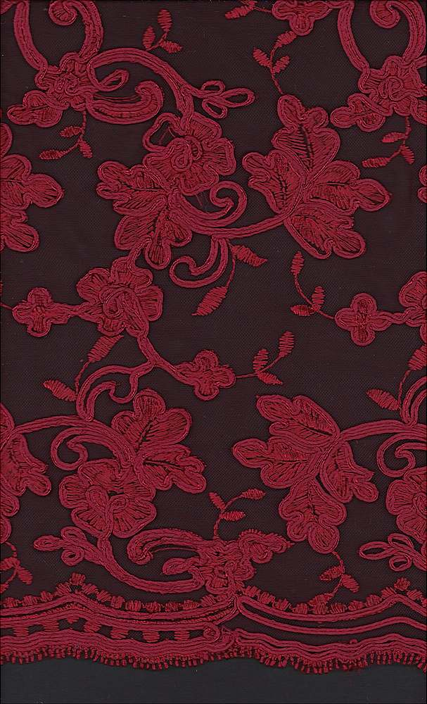 WTYX1511 / BURGANDY / 100% POLYESTER MESH WITH HEAVY CORD EMB