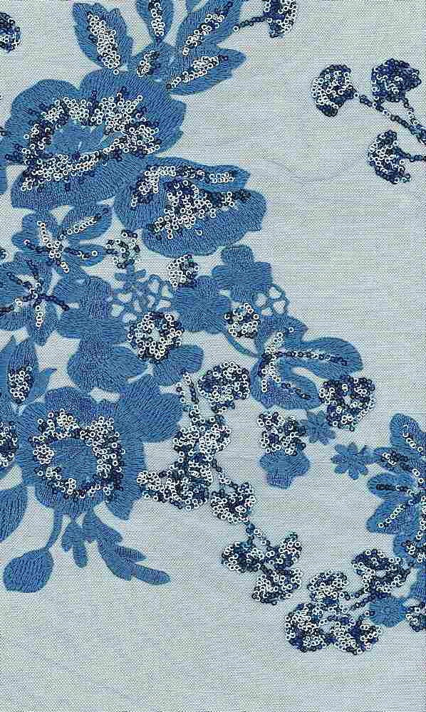 WTYX4645 / SLATE BLUE/S. BLUE/S.BLUE / 100% POLYESTER TULLE SEQUIN EMB