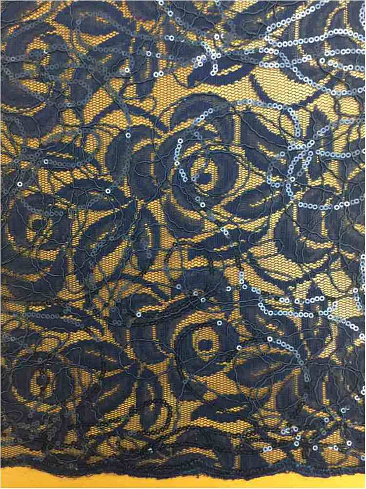 WTYX738-2 / NAVY / 100% Polyester Lace With Sequins