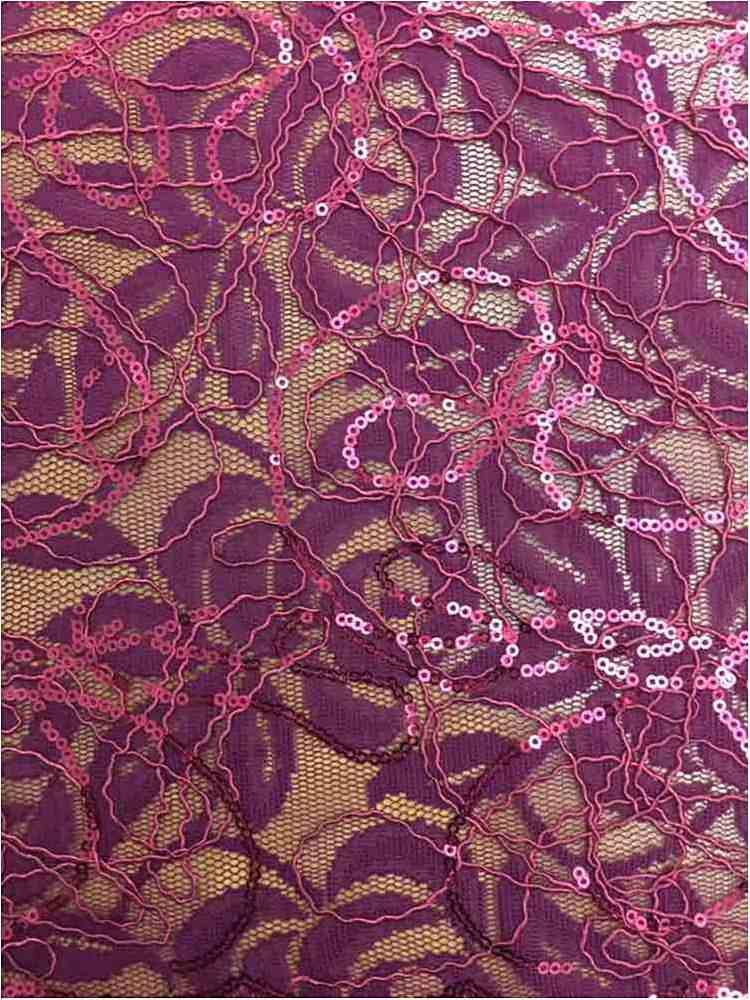 WTYX738-2 / MERLOT / 100% Polyester Lace With Sequins