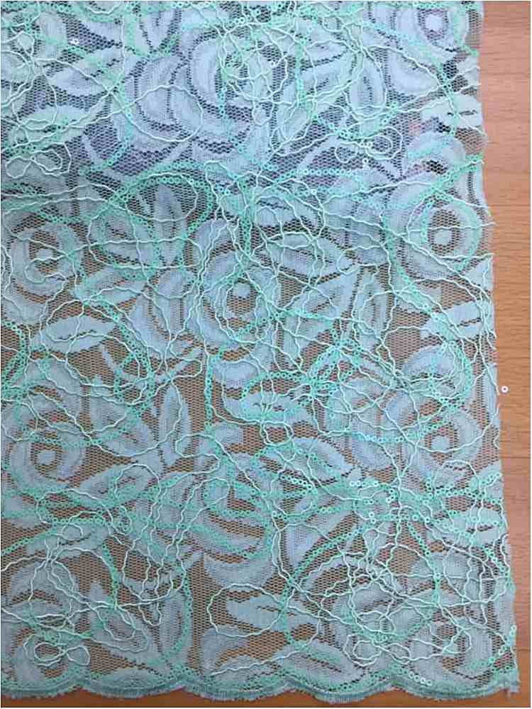 WTYX738-2 / MINT / 100% Polyester Lace With Sequins