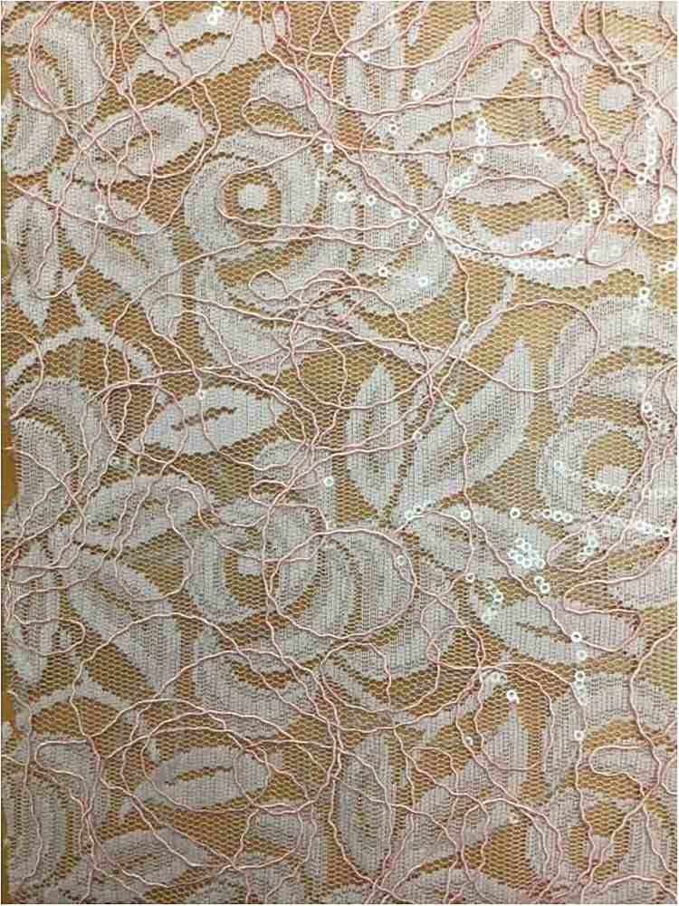 WTYX738-2 / BLUSH / 100% Polyester Lace With Sequins