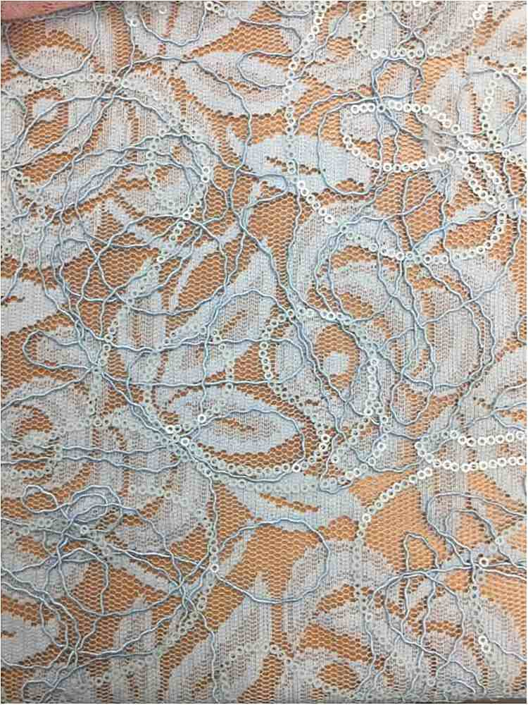 WTYX738-2 / SOFT BLUE / 100% Polyester Lace With Sequins