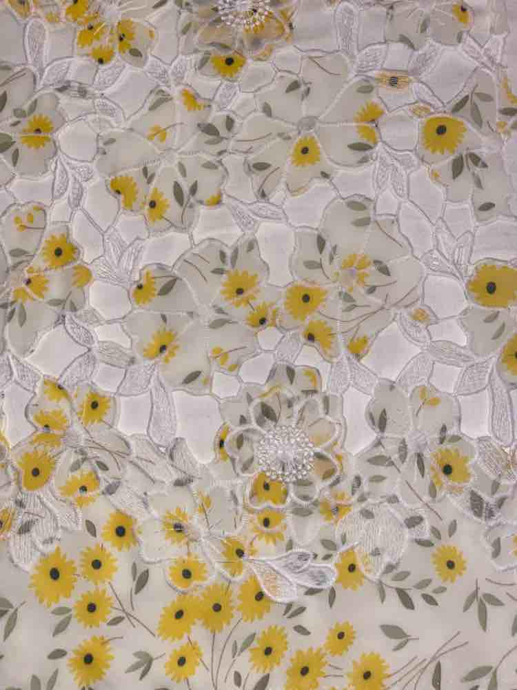 SSCLCFM206-267 / IVORY/YELLOW / 100% POLYESTER